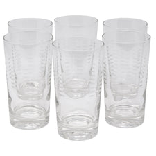 Vintage Etched Dashes Collins Glasses | The Hour Shop