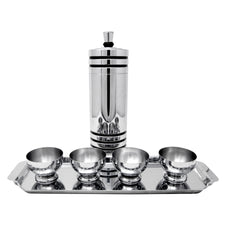 Vintage Chase Gaiety Chrome Black Lines Cocktail Shaker Set Front | The Hour Shop