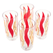 Vintage Red & Gold Flame Collins Glasses | The Hour Shop