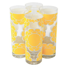 Vintage Mid Century Colony Yellow Flowers Collins Glasses | The Hour Shop
