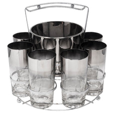 Vintage Mercury Fade Collins Ice Bucket Ball Handle Caddy Set | The Hour Shop