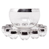 Vintage Dorothy Thorpe Silver Band Punch Bowl Set Front | The Hour Shop