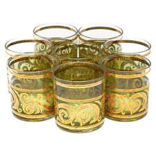 Vintage Culver Toledo Green Gold Rocks Glasses | The Hour