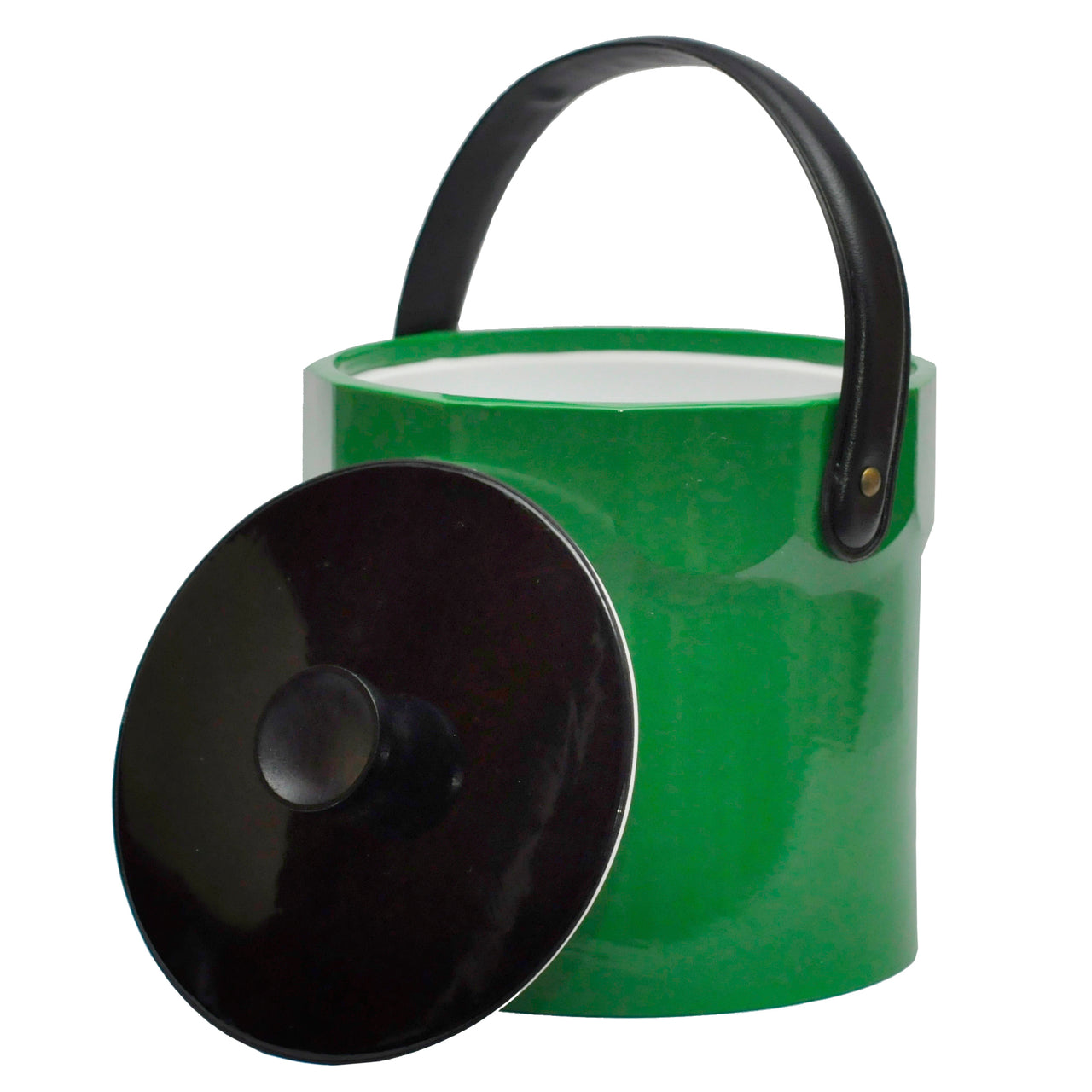 Green & Black Vinyl Vintage Ice Bucket, The Hour Shop
