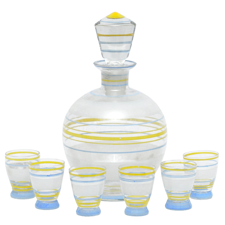 Vintage Czech Blue Yellow & Frost Stripe Decanter Set | The Hour Shop