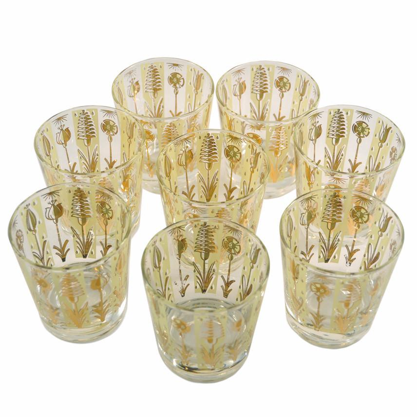 Fred Press Gold Floral Rocks Glasses, The Hour Shop Vintage