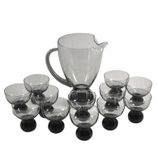 The Hour, Vintage Morgantown Smoke Glass Cocktail Pitcher Set