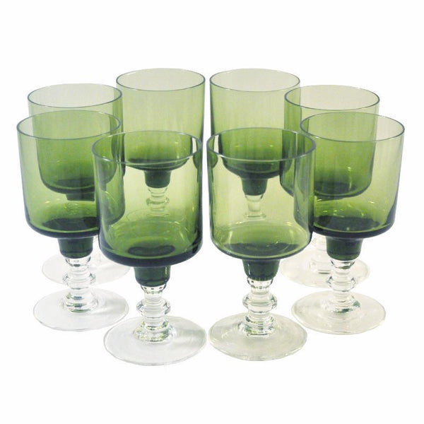 Dark Olive Green Cocktail Stems, The Hour Shop Vintage Cocktail Glasses