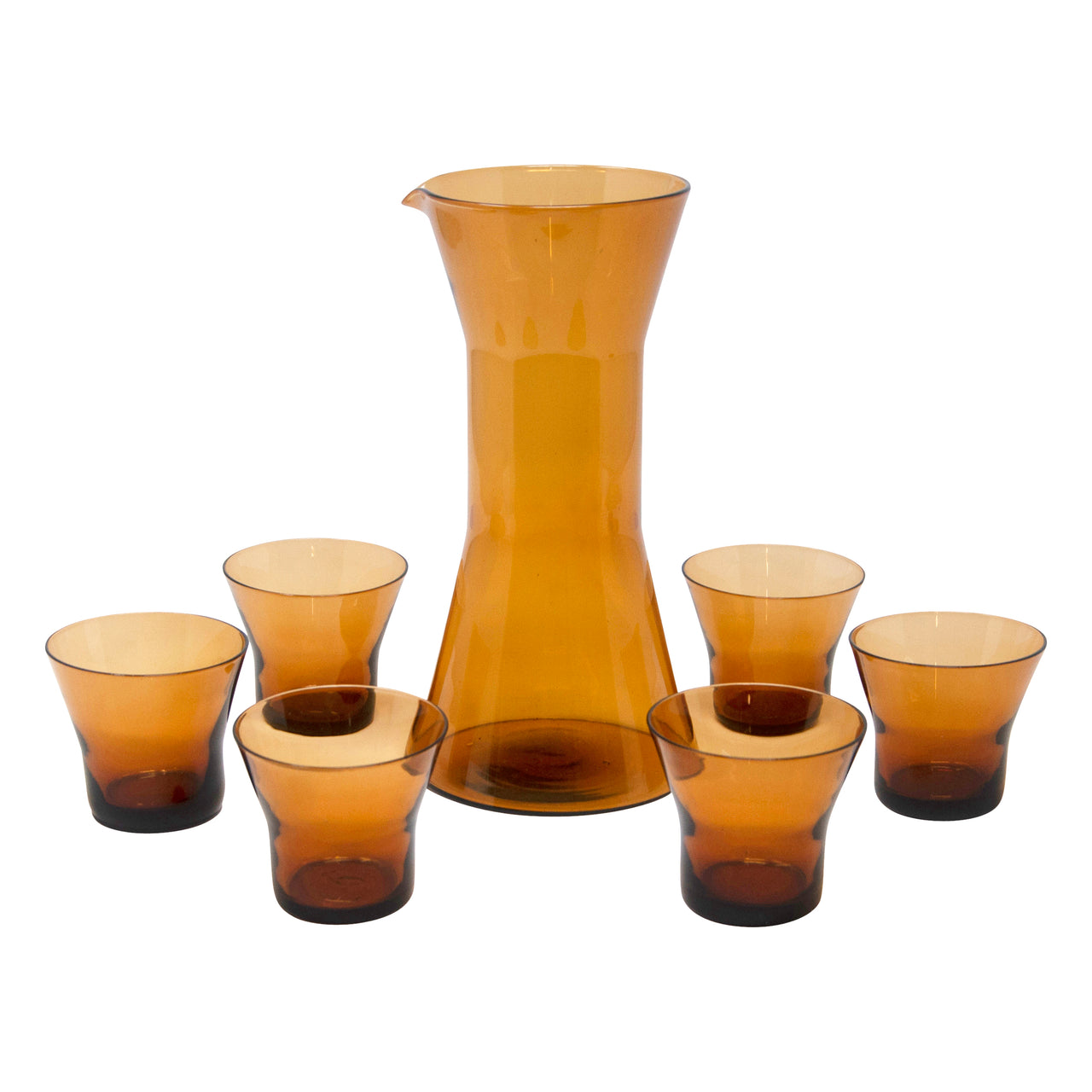 Vintage MCM Amber Cocktail Pitcher Set | The Hour Shop