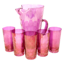 Draping Pink Iridescent Cocktail Pitcher Set
