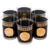 Vintage Georges Briard Gold and Black Shell Cocktail Set Glasses | The Hour Shop