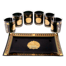 Vintage Georges Briard Gold and Black Shell Cocktail Set | The Hour Shop