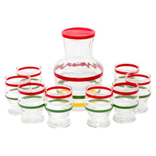Vintage Red Lid Striped Decanter Set | The Hour Shop