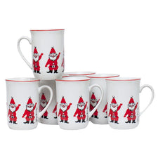 Vintage G. Briard Waving Santa Christmas Mugs, The Hour