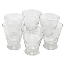 Vintage Clear Frosted Flower Footed Single Old Fashioned Glasses | The Hour Shop