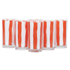 Vintage Libbey Orange & White Stripe Glasses, The Hour
