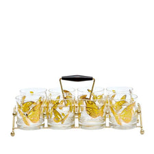 Culver Butterfly Rocks Glass Caddy Set | The Hour Shop Vintage