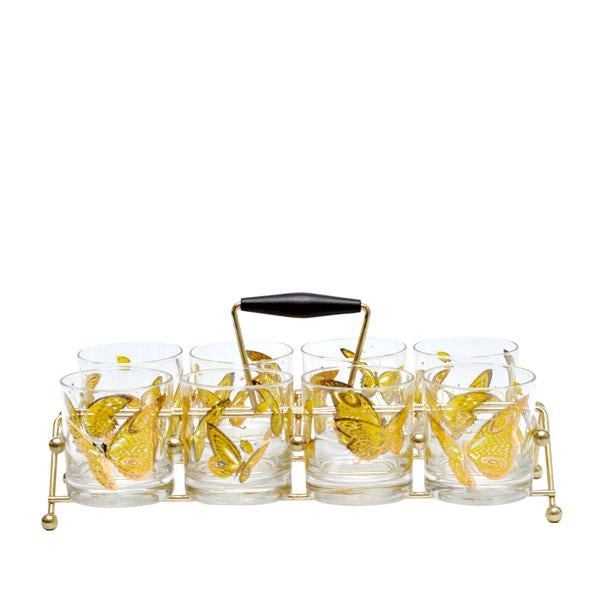Vintage Culver Butterfly Rocks Glass Caddy Set, The Hour