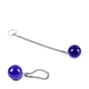 4cm Diameter Blue Glass Kegel Ball on Chain