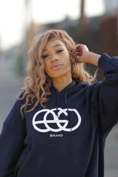Black Pullover Hoodie with White EGO Logo