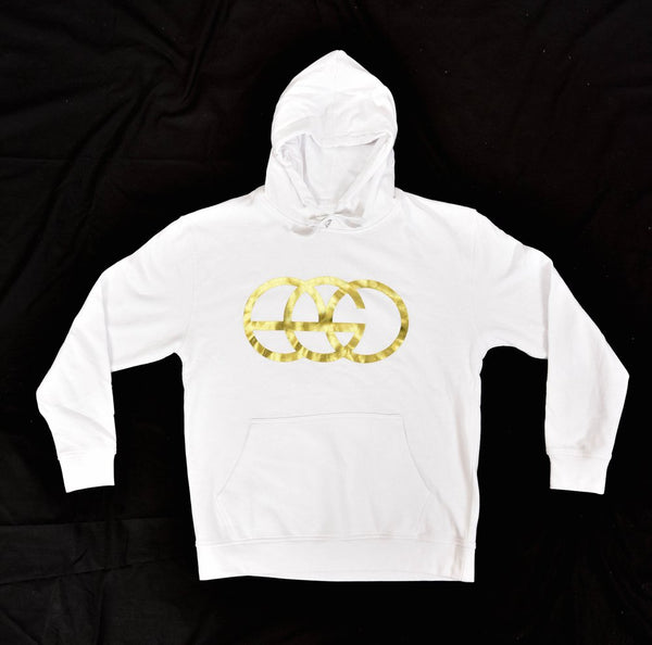 White Pullover Hoodie with Gold EGO Logo