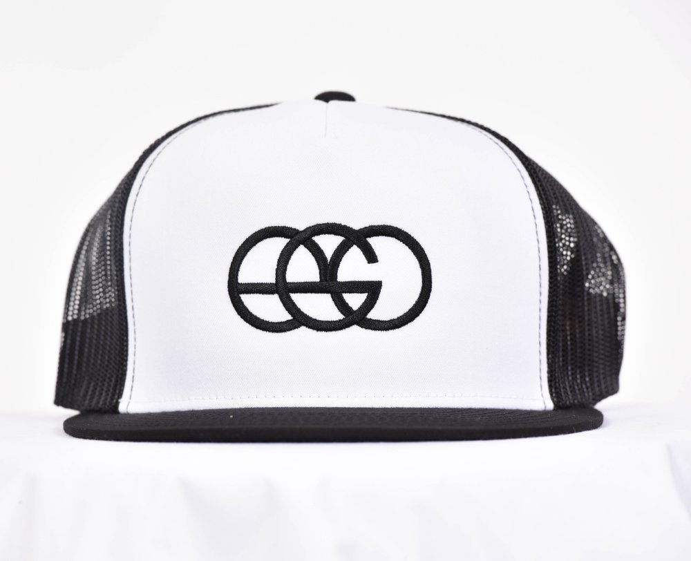White & Black Snapback Trucker Hat