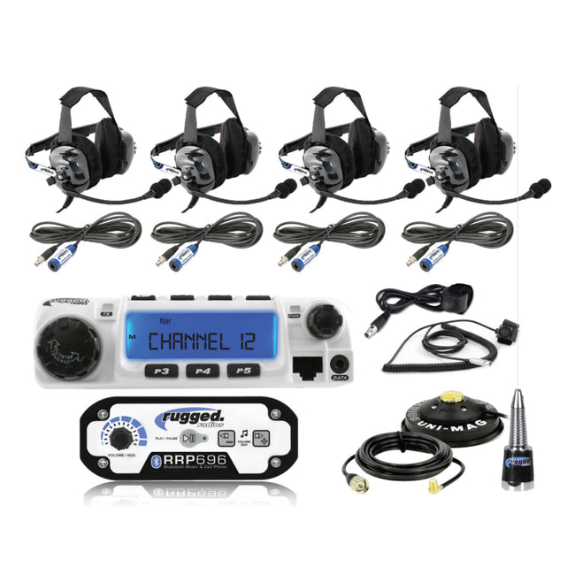 RUGGED RADIOS 4-PLACE INTERCOM WITH RADIO AND HEADSETS
