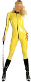 Yellow with Black Strips Latex catsuits for women