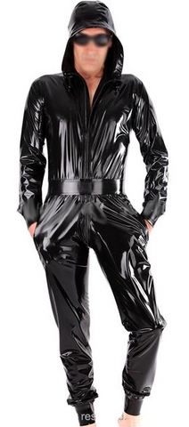 Variety of colors Hoodie with belt Latex catsuits for men