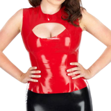 Red Fiery Babe Latex Tops