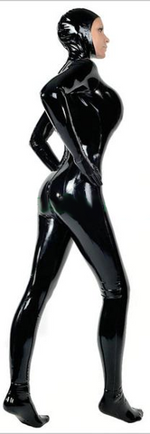 Sexy Fit Latex Catsuits with Hoodie for Women