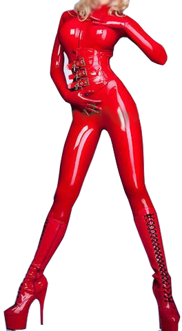 Sexy Seductive Latex Catsuit with Corset