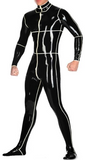 Striped Latex catsuits for men