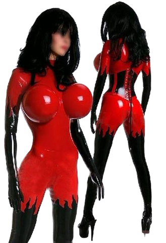 Sexy Breast Inflatable Latex Catsuit
