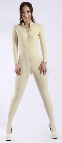 Sultry Front Zip Matrix Bodysuit
