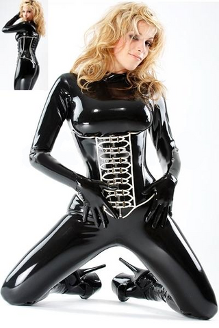 Sexy Fit Latex Catsuits with corset design for Women