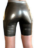 Stripey Striped Latex Shorts for Women
