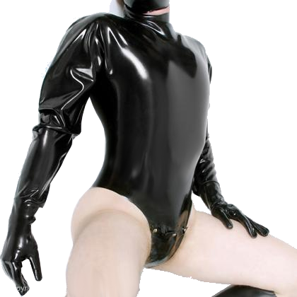 High Cut Latex Catsuit with Gloves and Codpiece