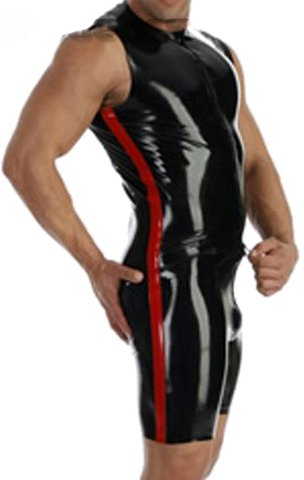 Macho Maximo Black Leotard with Red Trim