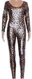 Black Backless Latex leopard catsuits