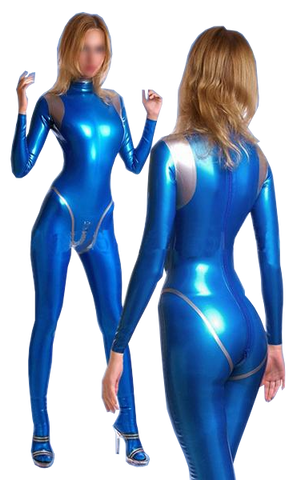 Blue with Silver Latex catsuits for women