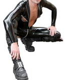 Black Uniform with zippers Latex catsuits for men