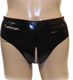 Black Sexy Open Crotch Latex underwear for men