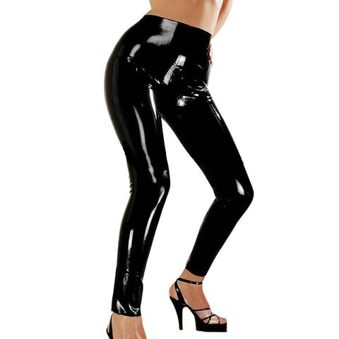 Black Sexy leggings Latex pants for women