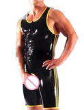 Black with Yellow Trim Latex Leotard