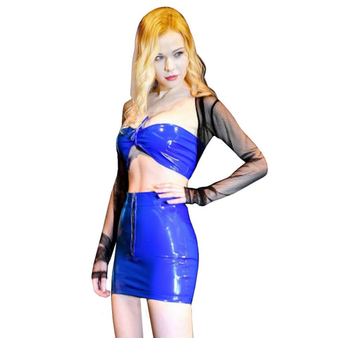 Latex Tube Top and Skirt Outfit