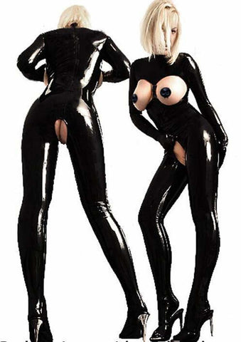 Black Open Bust Latex catsuits for women
