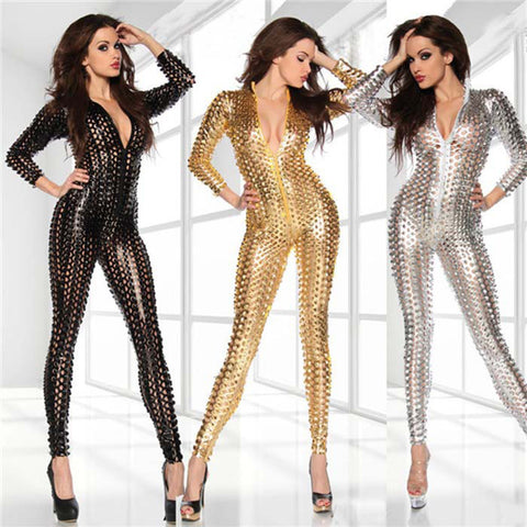 Black/Silver/Gold Latex Bodysuit for Women
