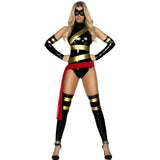 Black Sexy Haute Hero Latex bodysuit costumes for women
