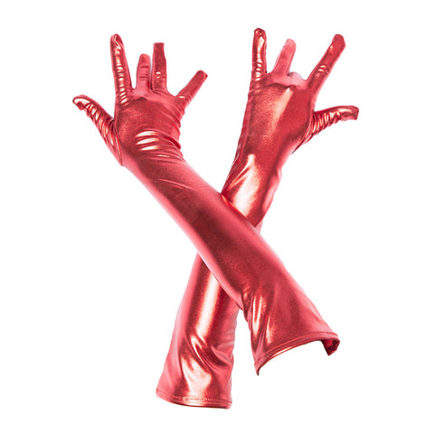 Metallic Elbox Long Gloves for Women